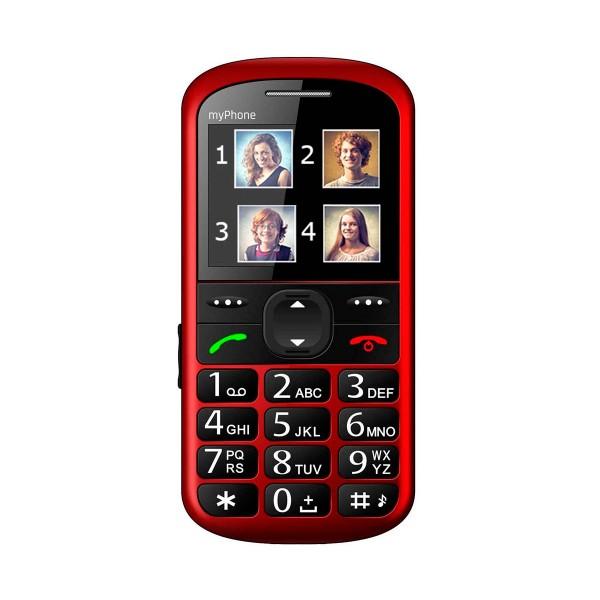 Myphone halo 2 rojo móvil senior 2.2'' cámara vga bluetooth microsd botón sos base de carga