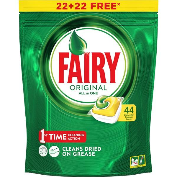 Fairy detergente lavavajillas todo en 1 original 22 + 22 gratis