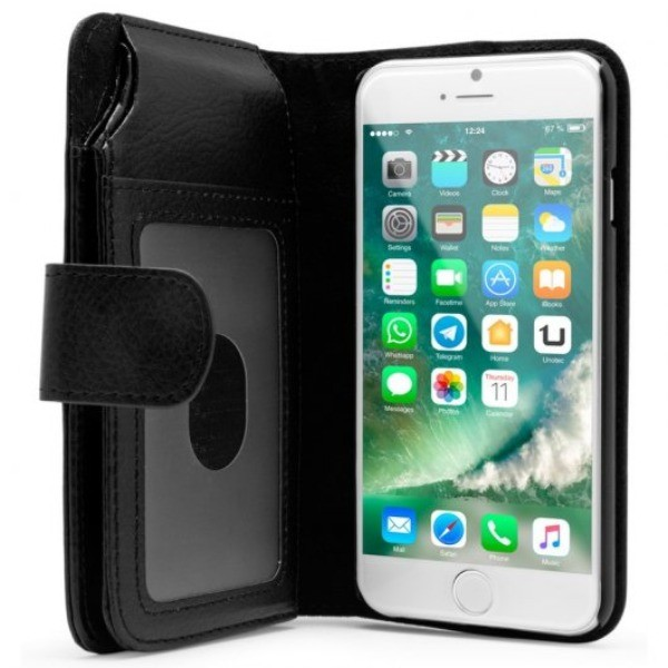Unotec Funda Billetero Negra para Iphone 7