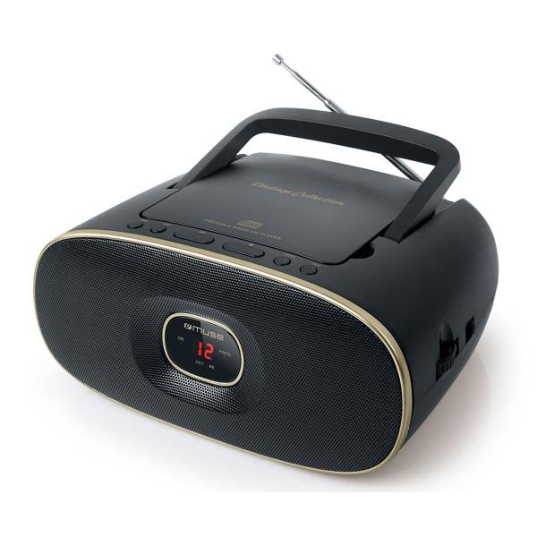 Muse md-202 vt negro radio cd portátil cd-rw fm/am con altavoz integrado