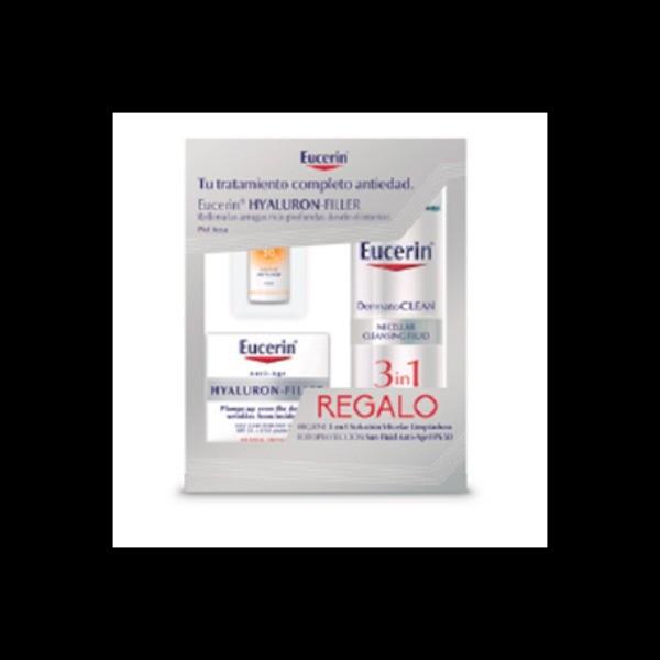 Hyaluron-Filler Crema de Día para Pieles Secas 50 ml + Agua Micelar + Protector Solar FPS 50 Eucerin